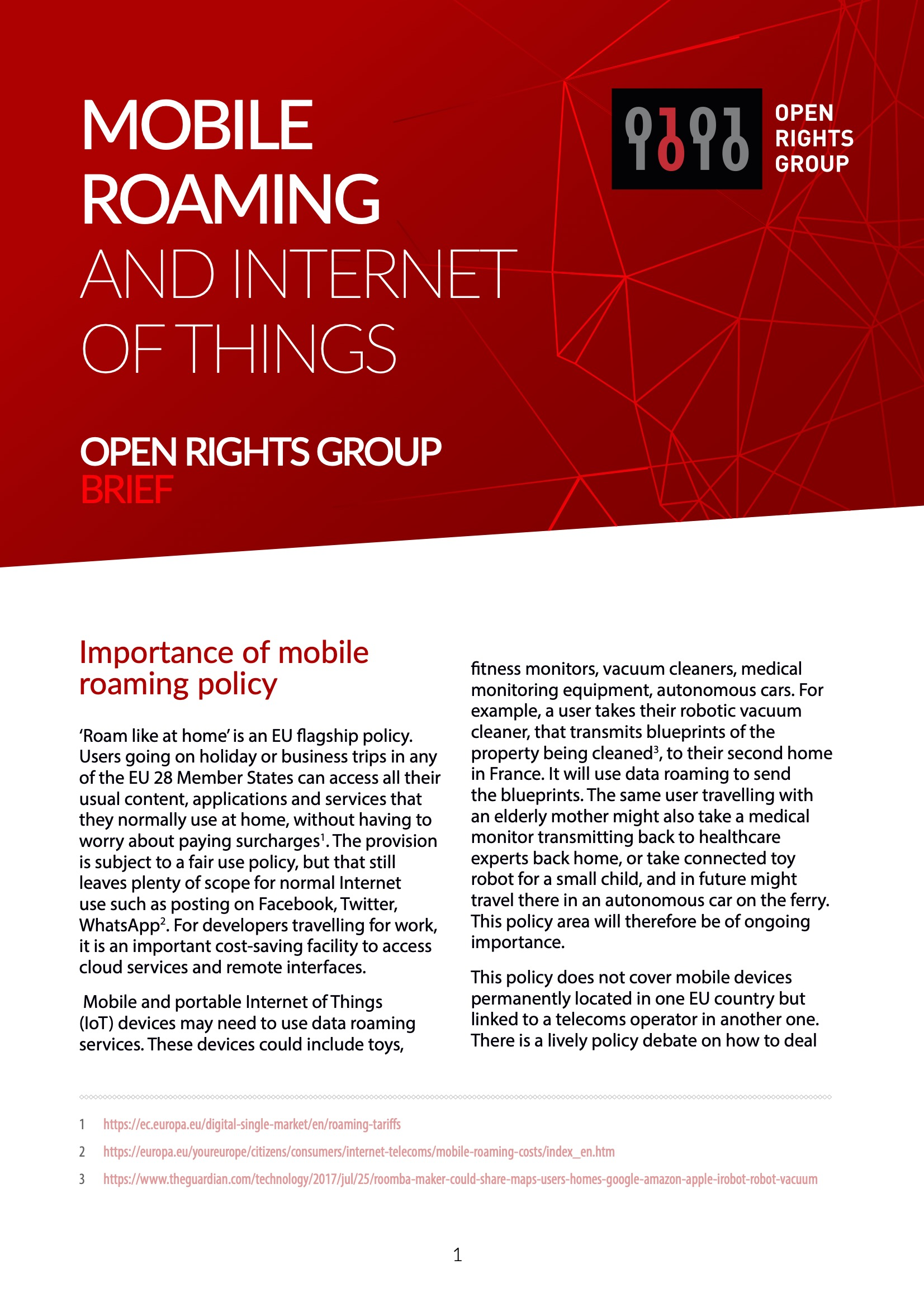 Open Rights Group - Mobile Roaming and Internet of Things