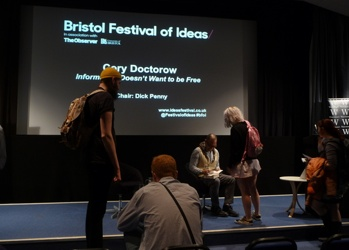 Our Bristol group get books signed by Cory Doctorow after his talk at the Bristol Festival of Ideas.