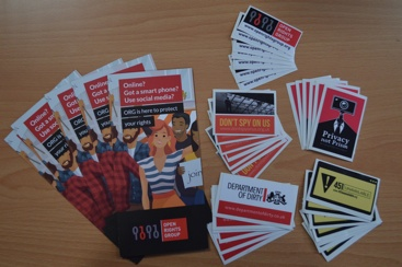 The materials organisers receive to use at events, including: Open Rights Group leaflets and stickers for Don't Spy On Us, Privacy Not Prism, 351 Unavailable, Department of Dirty and our logo.