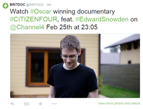 Britdoc Tweet promoting CITIZENFOUR