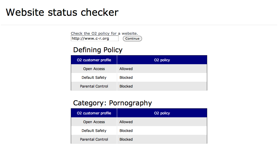 Open rights group peace advocates website is blocked as porn on o2s url checker which shows how websites are categorised and why they are blocked on the network tells us the site is classified as pornography ccuart Images