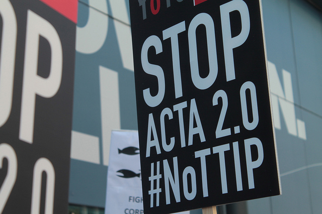 NoTTIP Demonstration - Open Rights Group placards