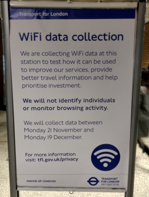 TfL WiFi data collection sign