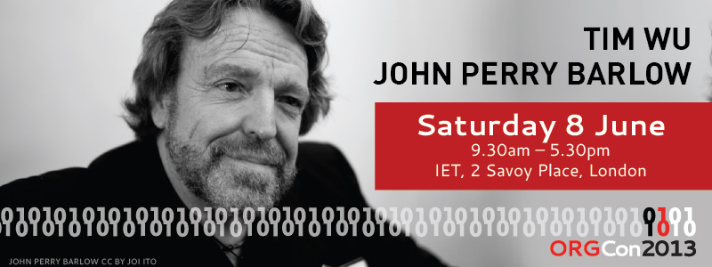 Join us at ORGCon with John Perry Barlow